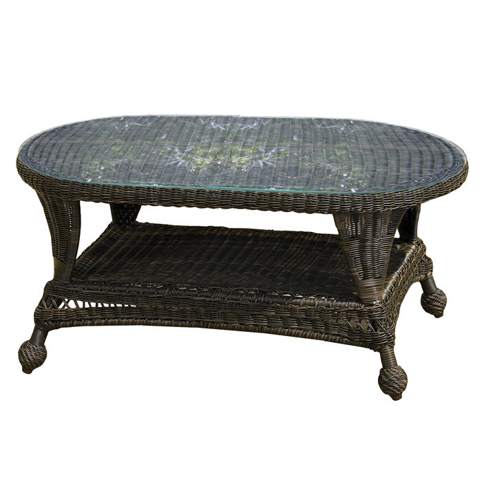 Image of: Glass wicker coffee table