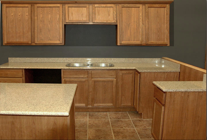 Picture of: NEW All Wood Mocha Oak cabinets