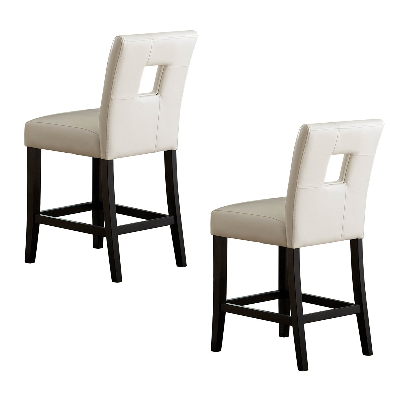 Picture of: Unique White Leather Square Hole Backs Counter Height Stools