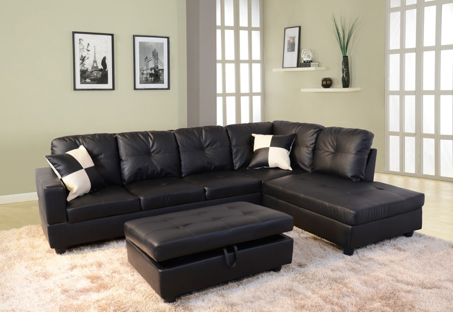 Picture of: beautiful black leather ottoman