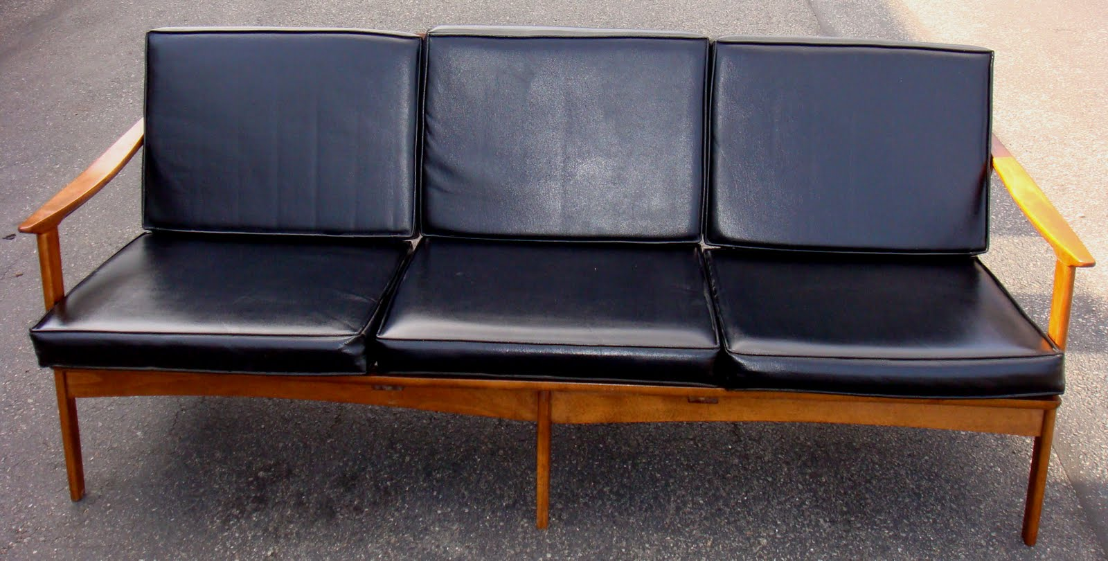 Image of: black mid century sofa