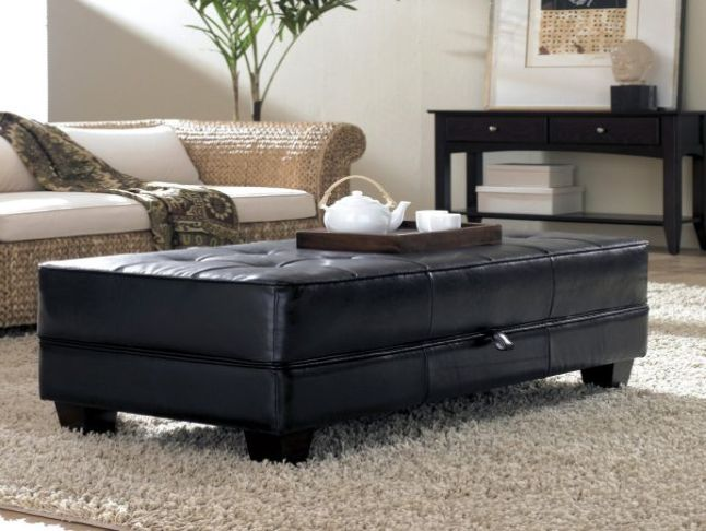 Picture of: cheap black leather ottoman
