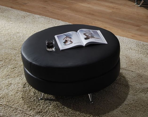 design of black leather ottoman