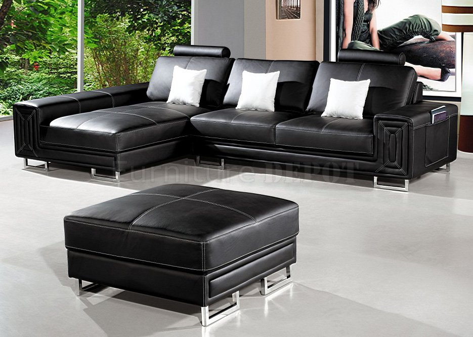 Picture of: Best Buy elegant black leather ottoman