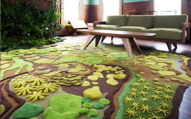 Image of: green modern rugs