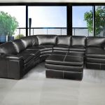living room black leather ottoman
