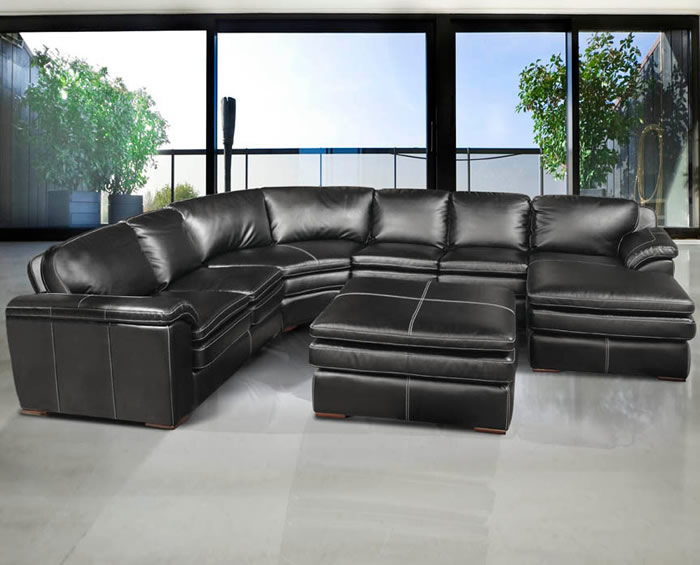 Picture of: living room black leather ottoman