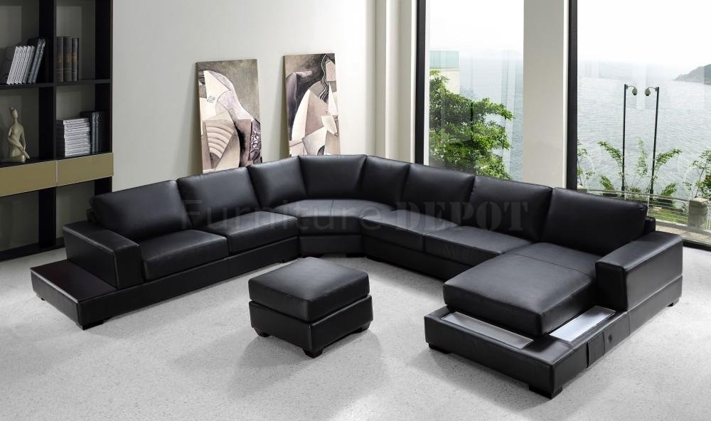 Picture of: modern black leather ottoman