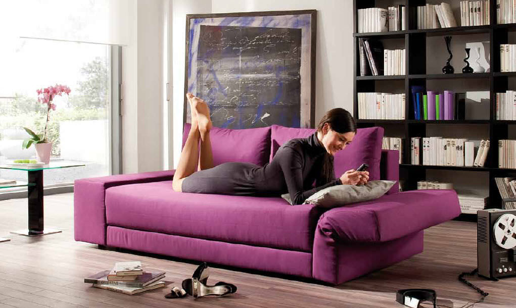 Picture of: modern purple couch