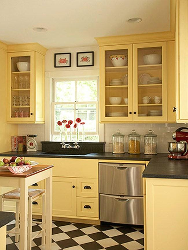 Image of: painting kitchen cabinets Yellow Color