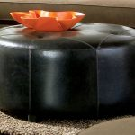 shapes of black leather ottoman