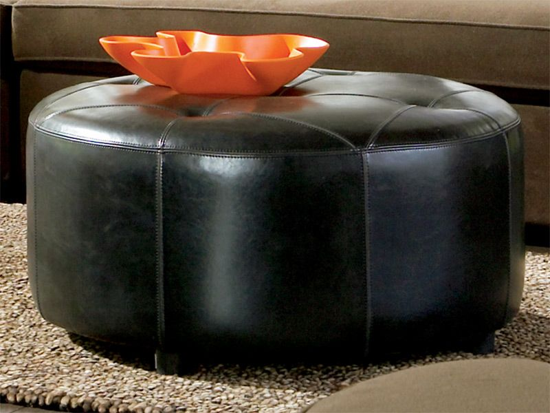 Picture of: shapes of black leather ottoman