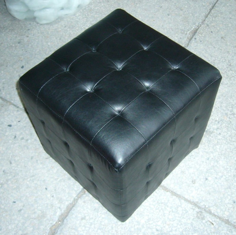 Picture of: storage black leather ottoman