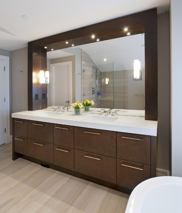 Picture of: stylish modern bathroom vanity lighting
