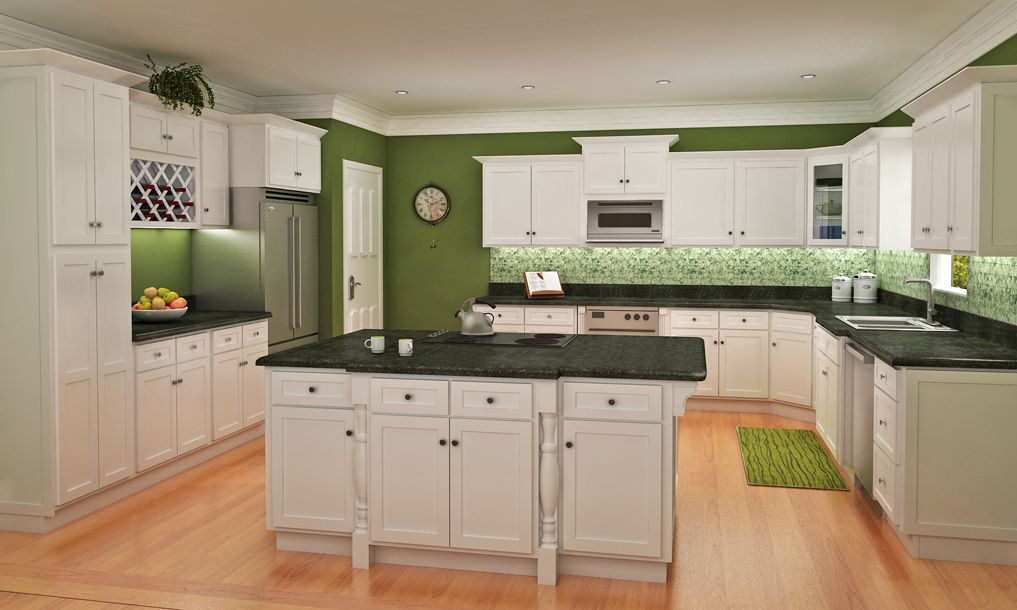 Picture of: shaker style cabinets with green wall