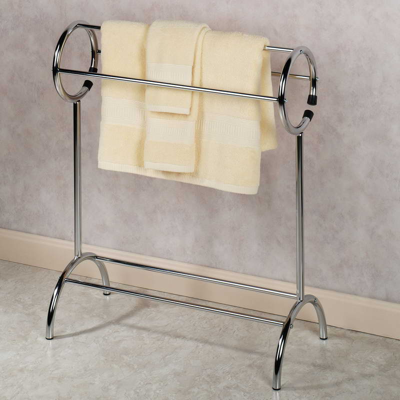 Image of: stunning free standing towel rack