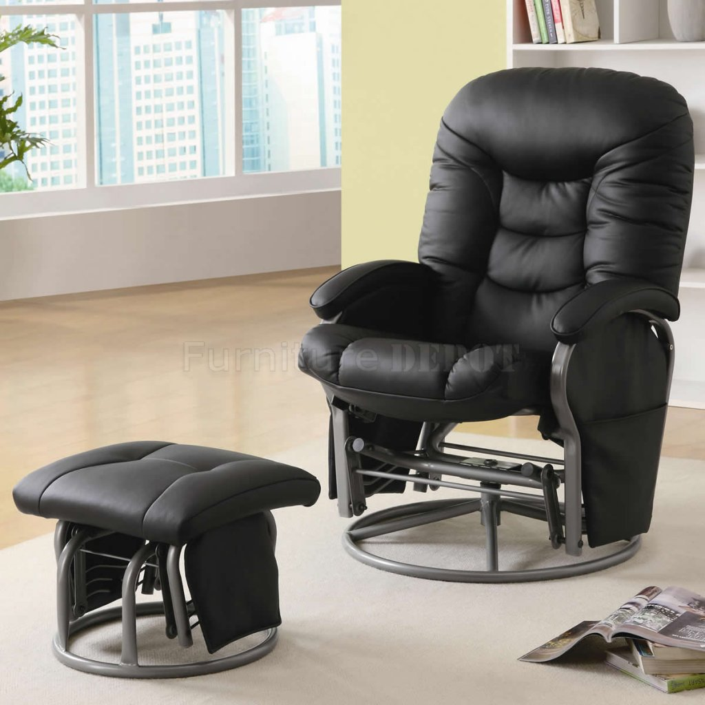 Picture of: swivel glider chair black