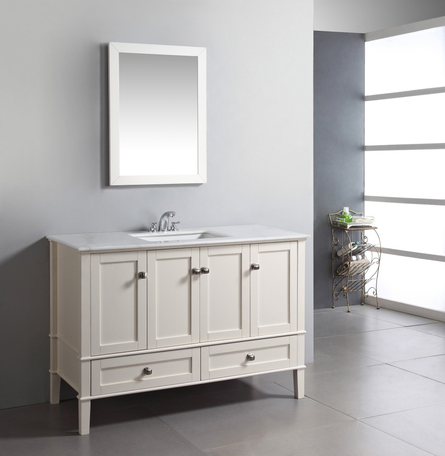 Picture of: white 48 bathroom vanity