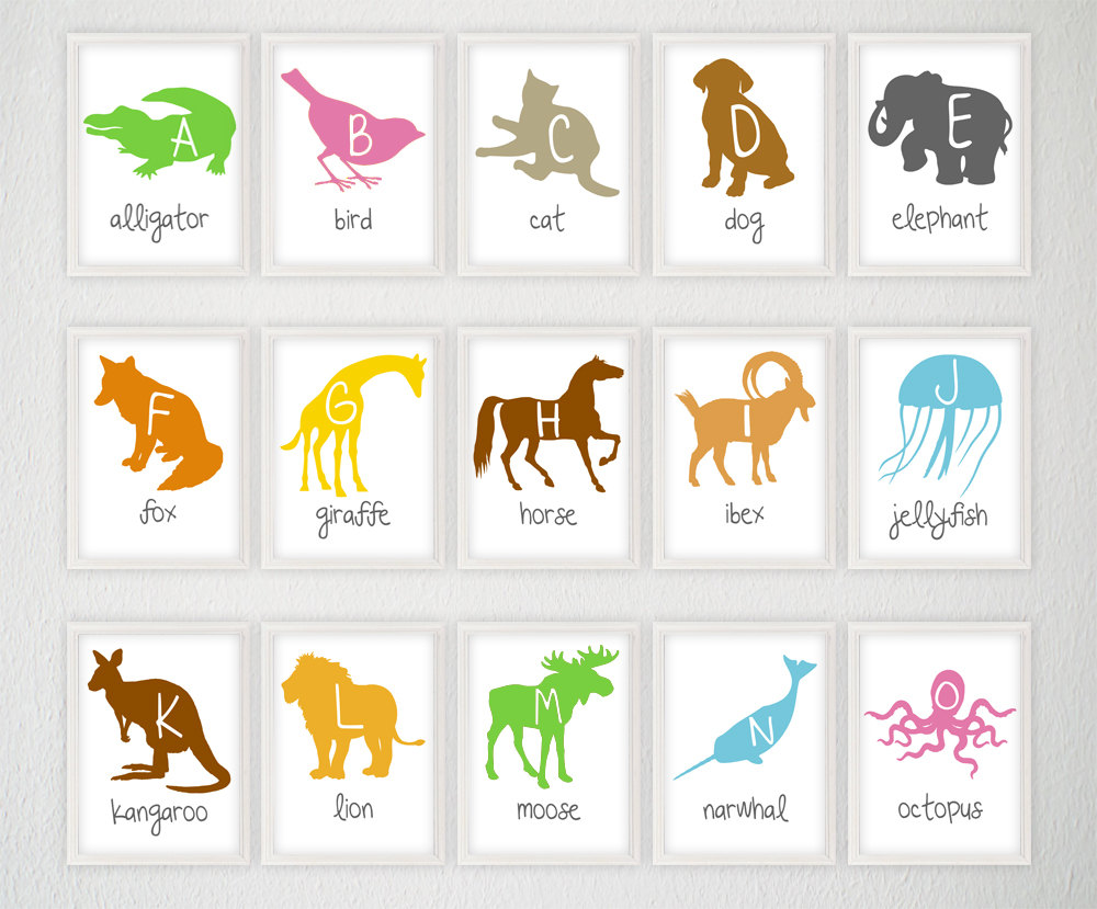 Image of: Alphabet Animal Prints for Nursery
