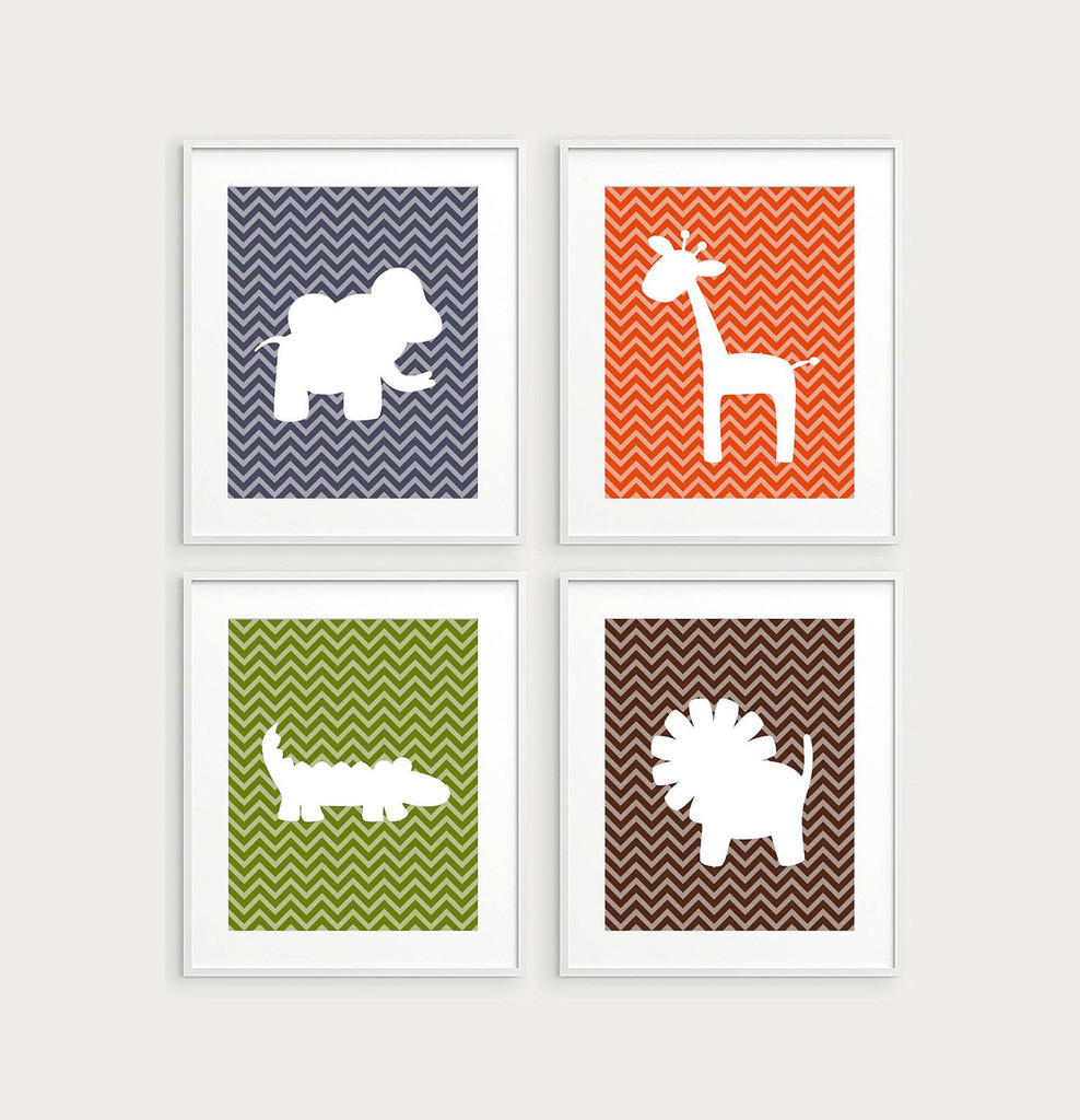 Image of: Animal Prints for Nursery Collection