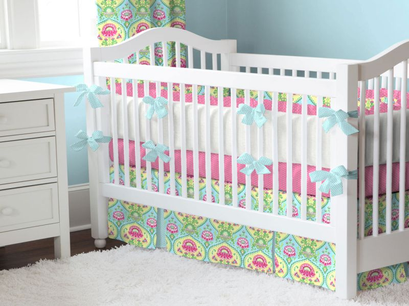 Image of: Aqua and Pink Nursery Bedding