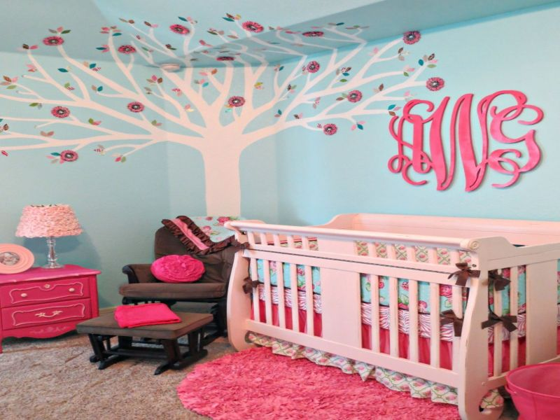 Image of: Aqua and Pink Nursery Decoration