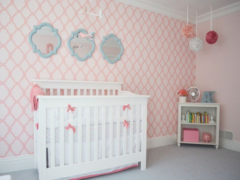 Image of: Aqua and Pink Nursery Decorative