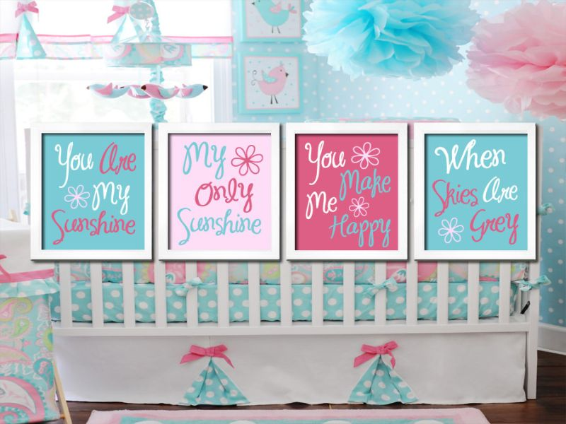 Image of: Aqua and Pink Nursery Love Mom