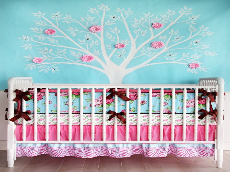 Image of: Aqua and Pink Nursery New