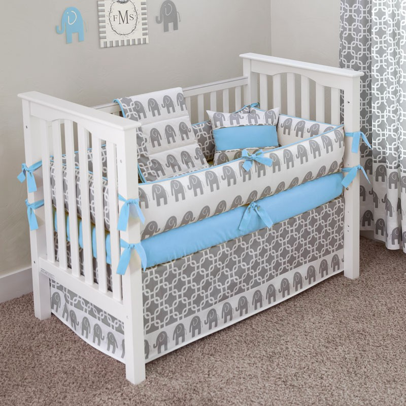 Picture of: Blue Elephant Nursery Bedding