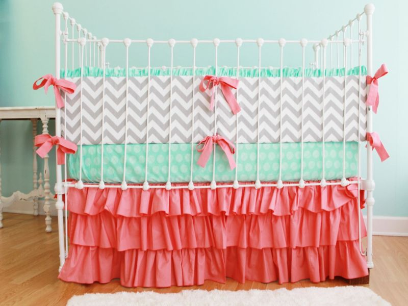 Image of: Coral Nursery Bedding Baby
