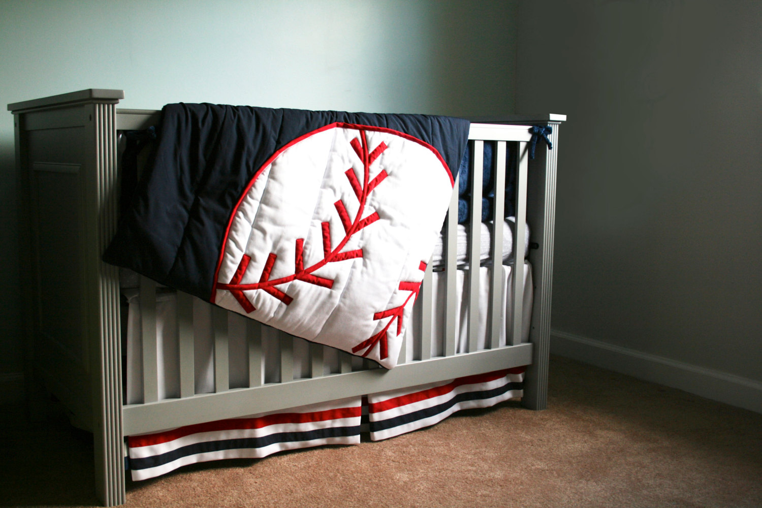 Picture of: Crib Baseball Nursery Bedding
