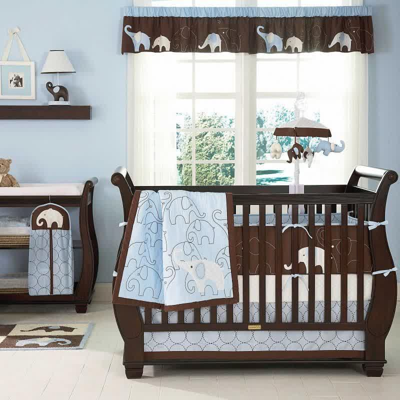 beautiful Elephant Baby Boy Crib Bedding Part - 13: Elephant Baby Boy Nursery Bedding