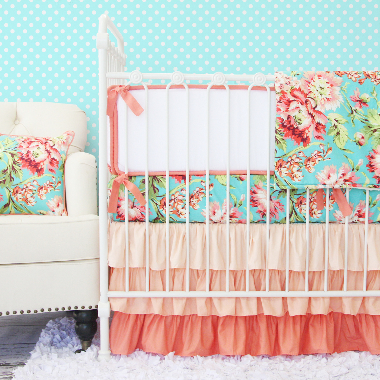 Picture of: Girl Nursery Bedding green