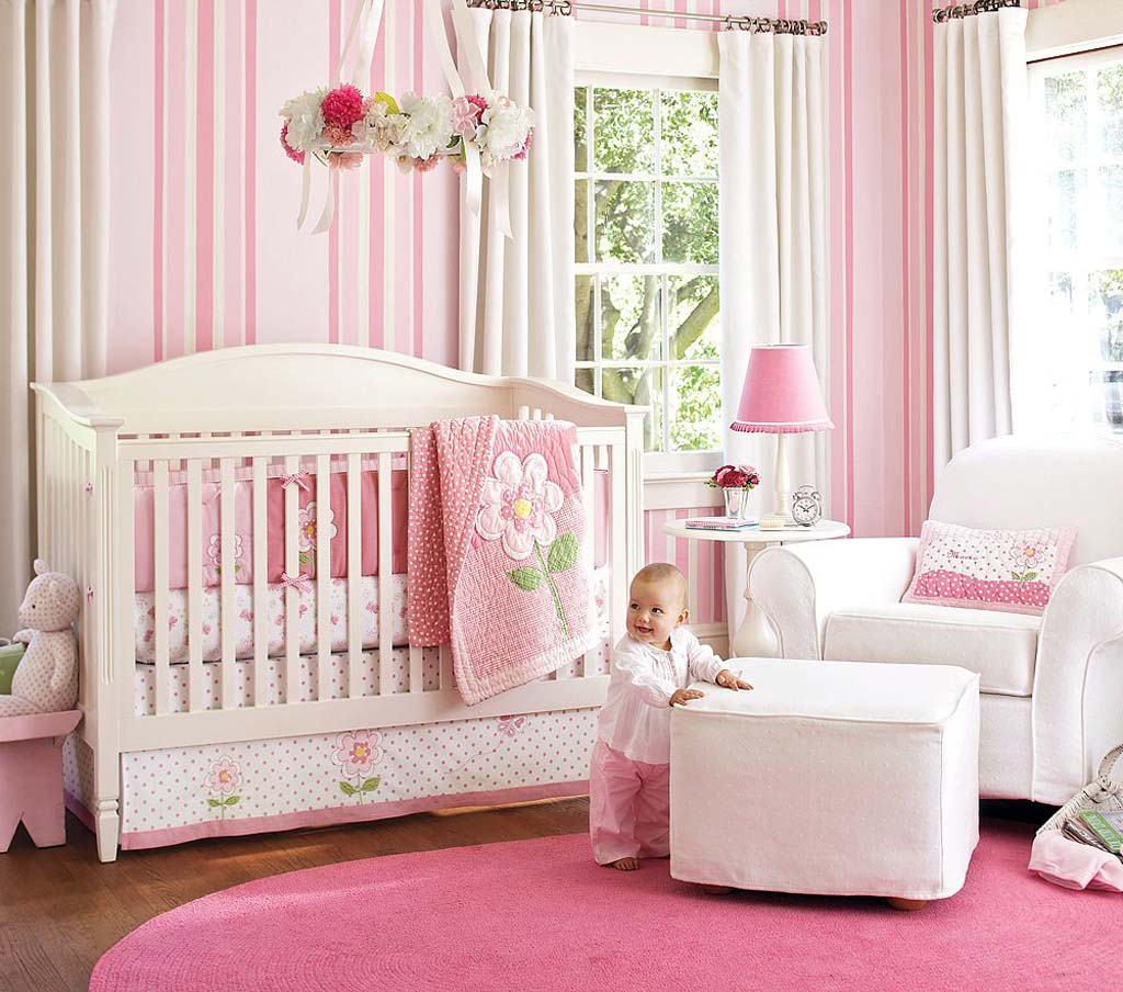 Picture of: Girl Nursery Bedding pink