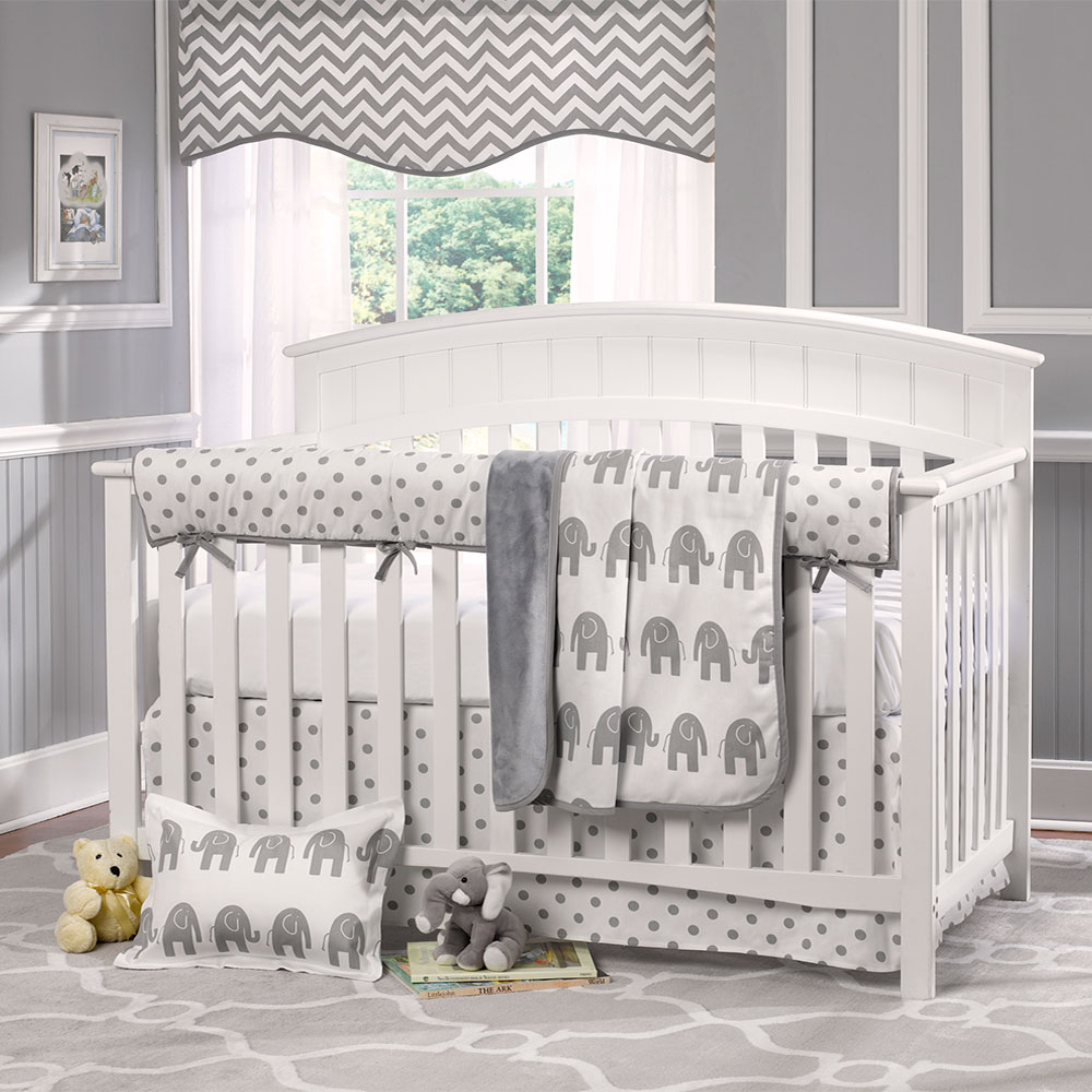 Picture of: Gray Elephant Nursery Bedding