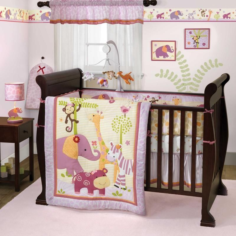 Picture of: Lavender and Pink Jungle Theme Nursery