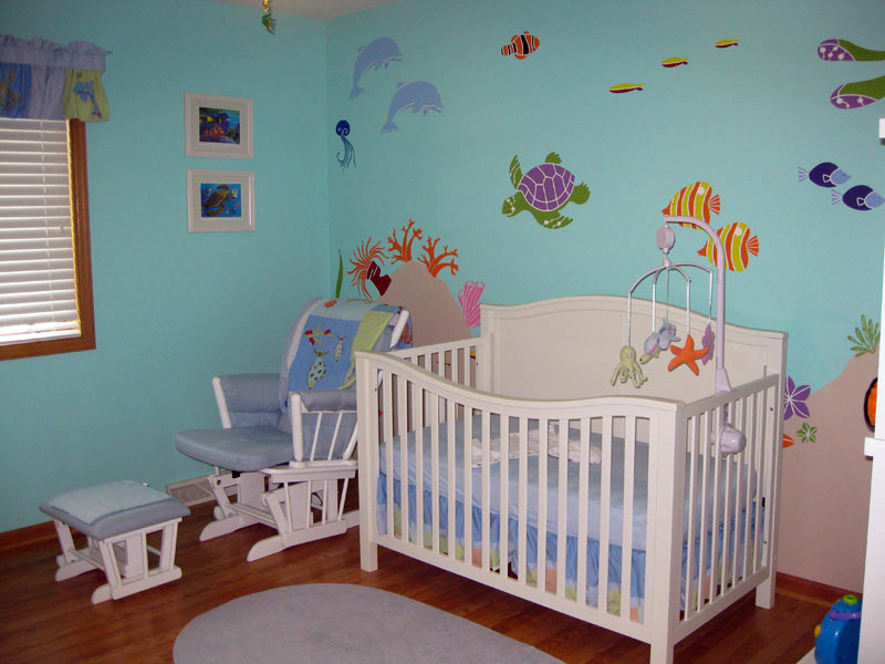 Ocean Themed Nursery Blue Paint