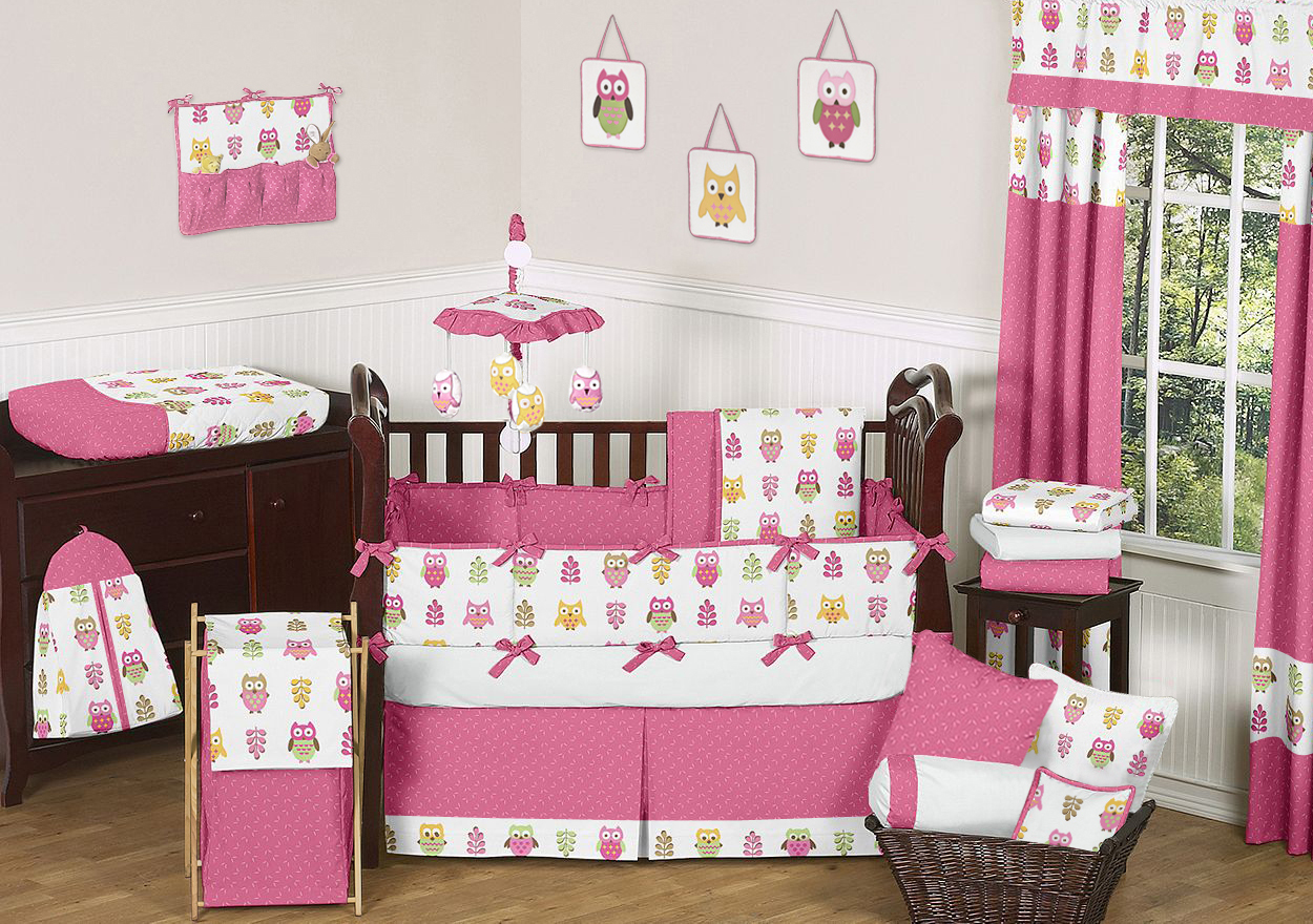 Picture of: Owl Nursery Bedding  red