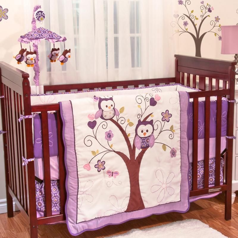 Picture of: Owl Purple Nursery Bedding