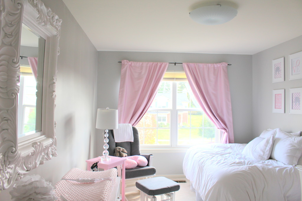 Image of: Pink Blackout Curtains Nursery