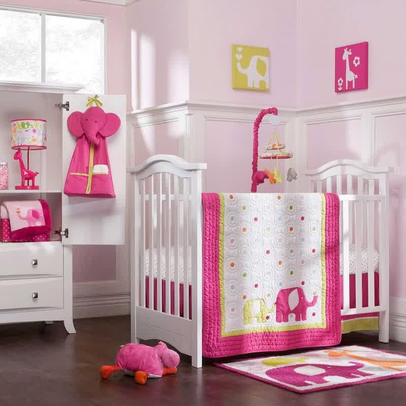 Picture of: Pink Elephant Nursery Bedding