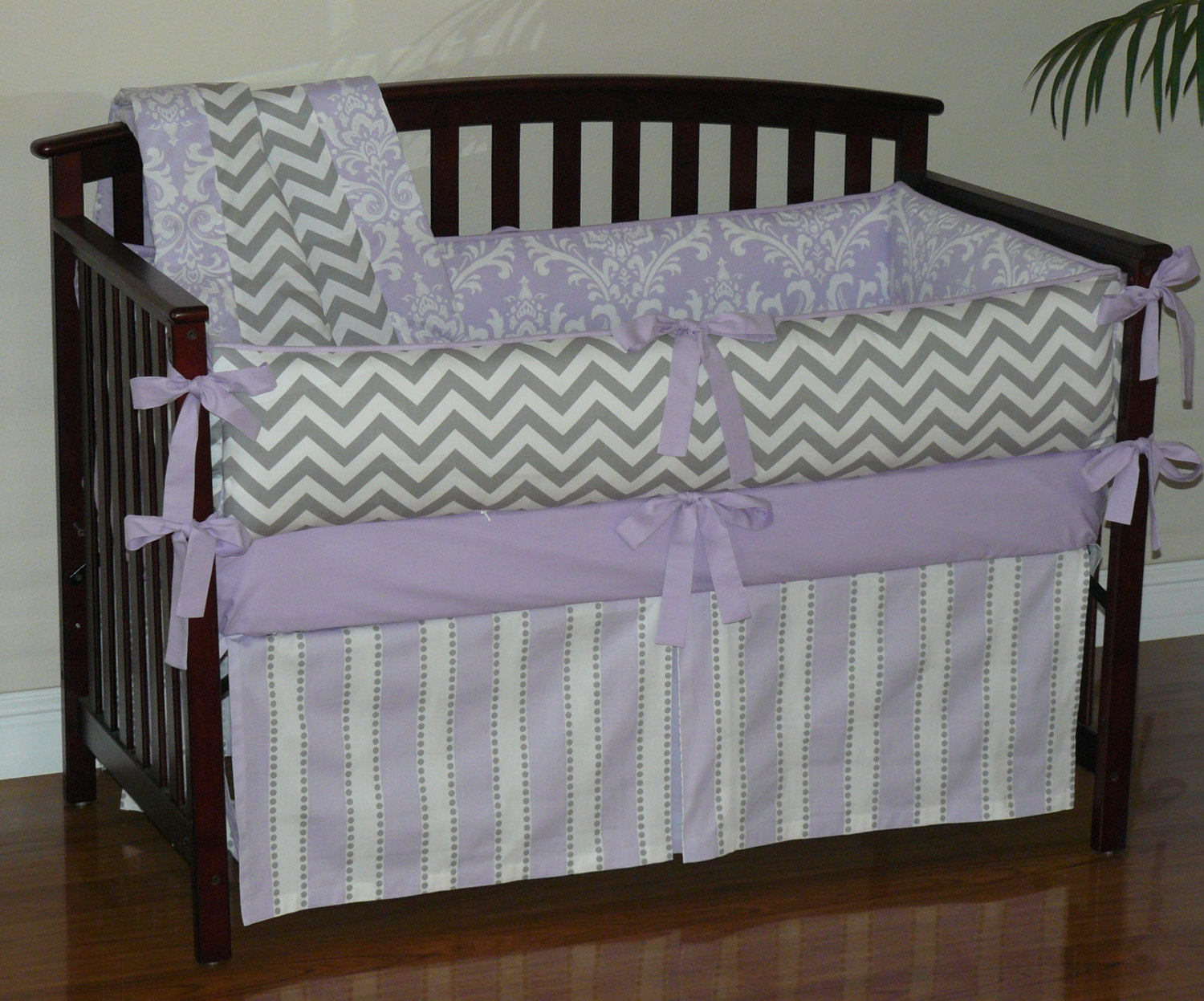 Picture of: Purple Nursery Bedding Striped
