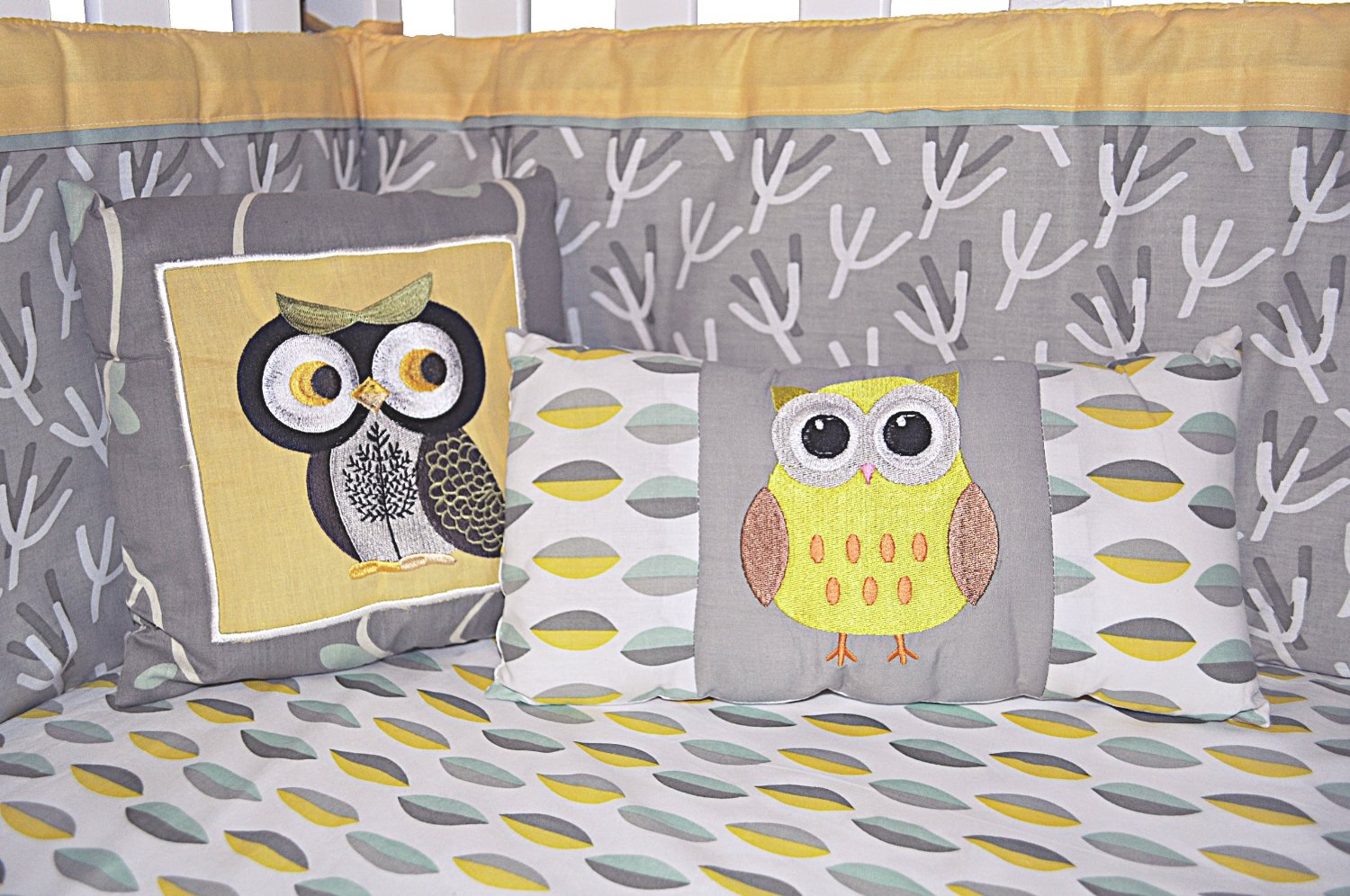 Picture of: Yellow and Gray Nursery Bedding bird