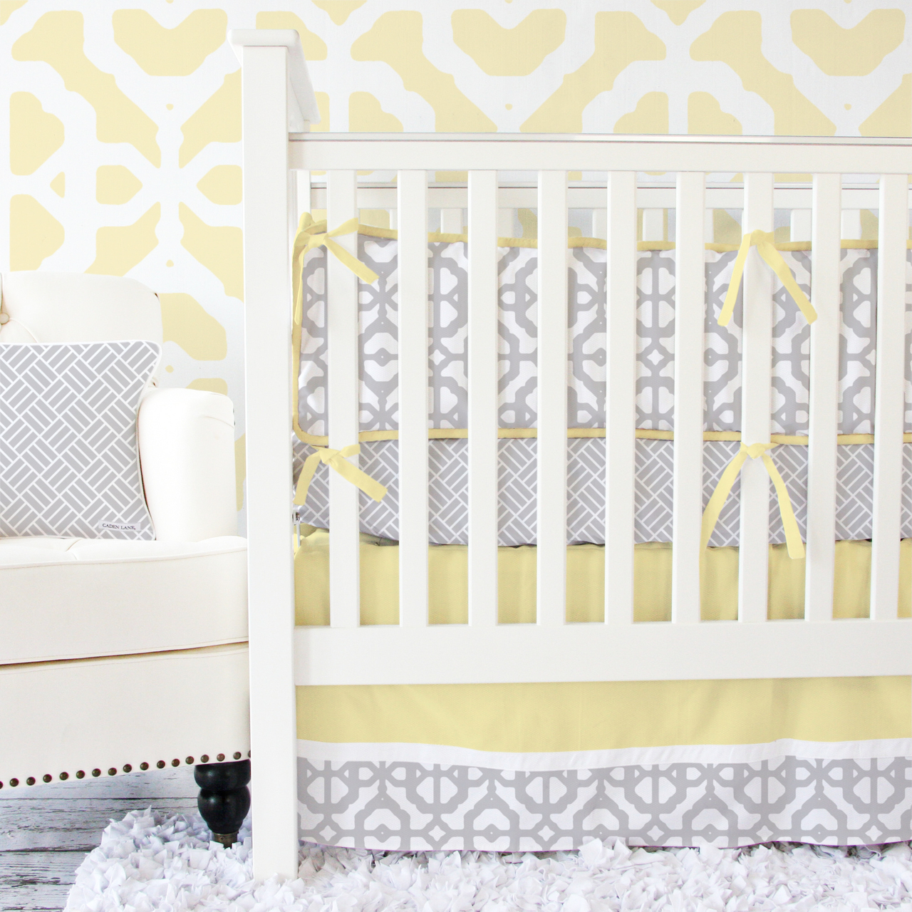 Picture of: Yellow and Gray Nursery Bedding clam