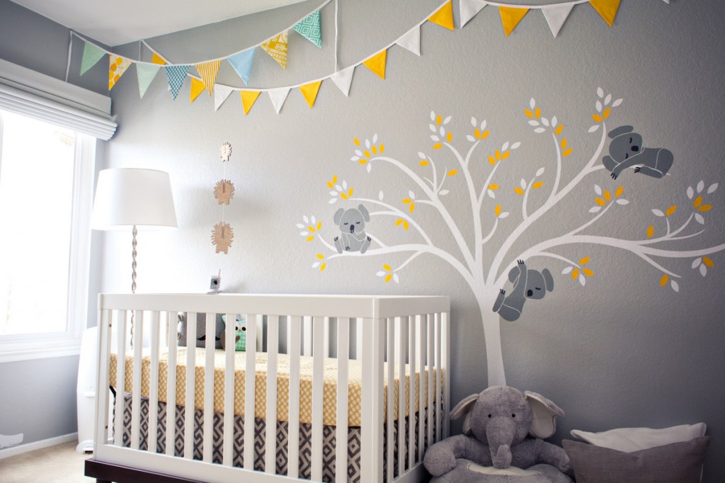 Picture of: Yellow and Gray Nursery Bedding flag