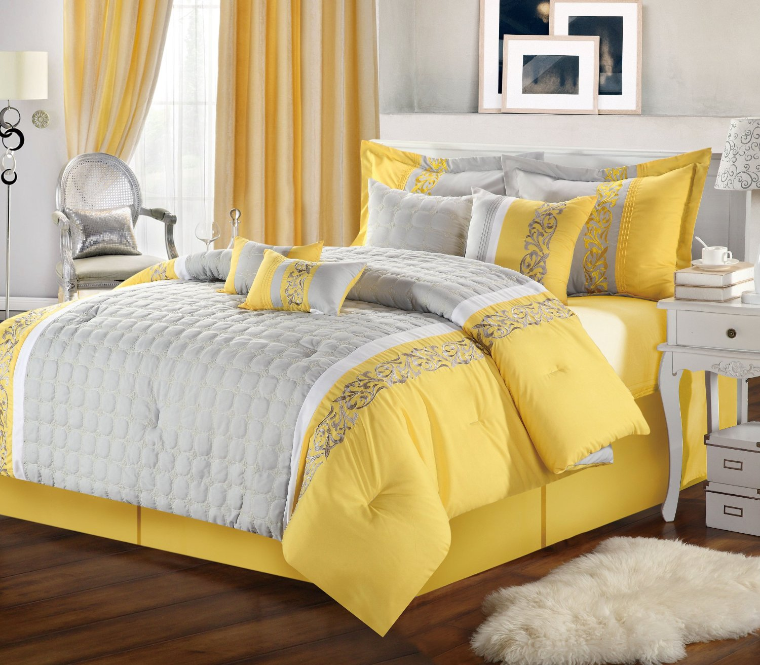 Picture of: Yellow and Gray Nursery Bedding large