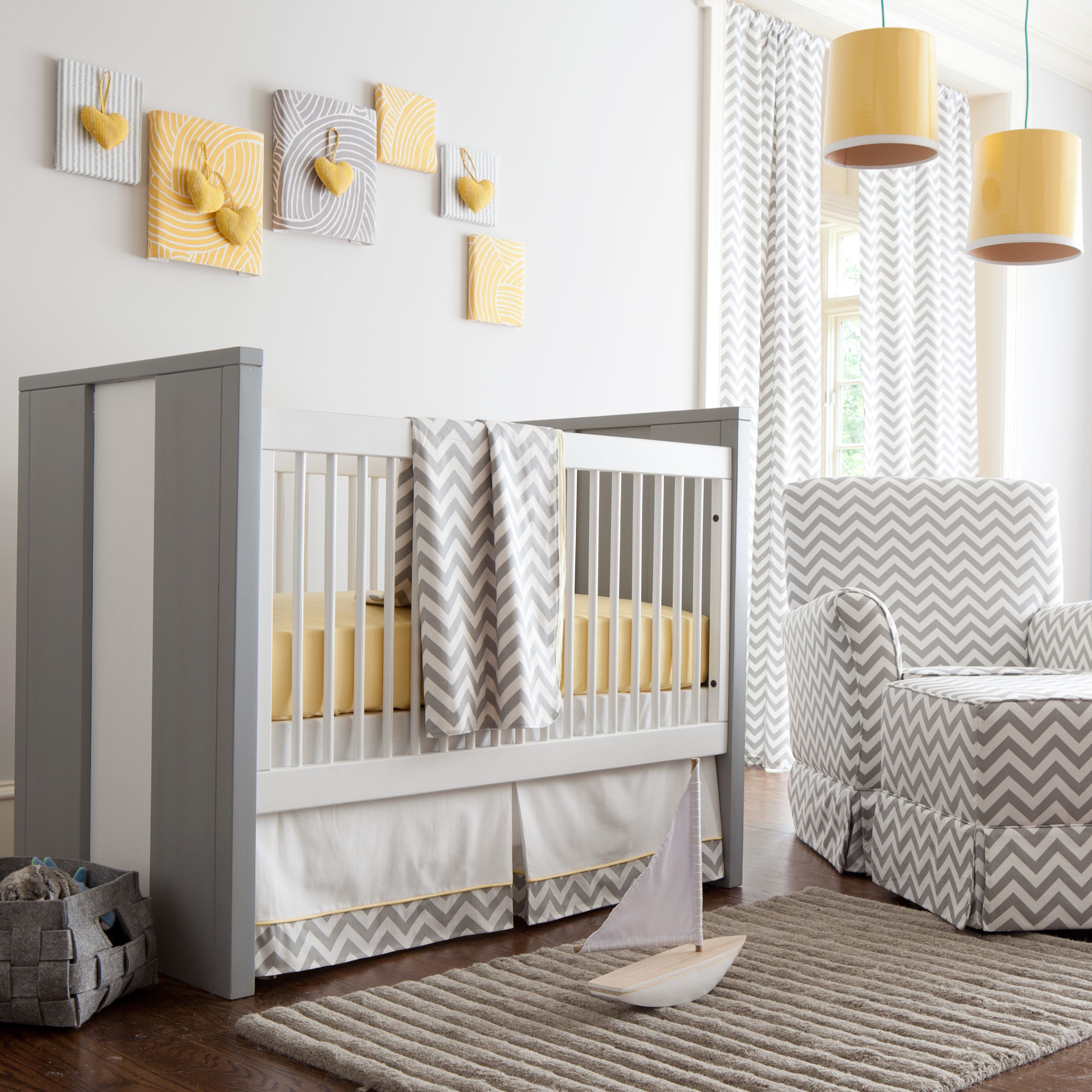 Yellow and Gray Nursery Bedding save