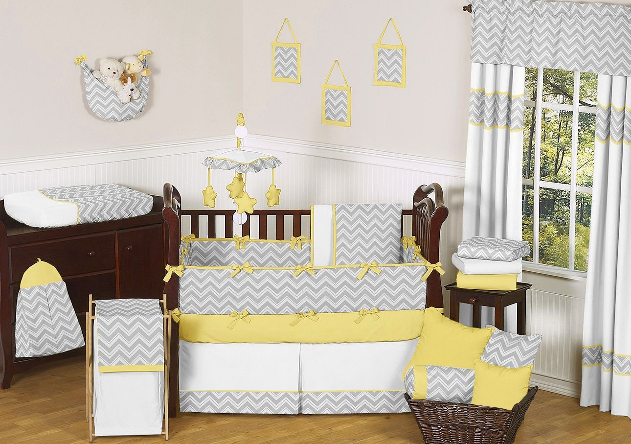 Picture of: Yellow and Gray Nursery Bedding young
