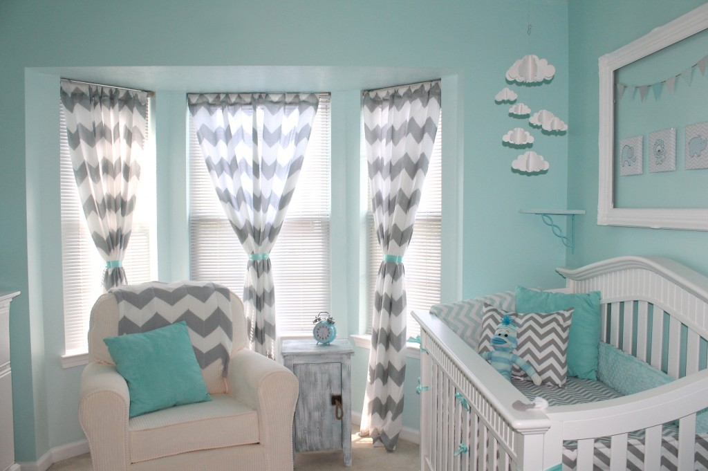 Picture of: aqua and gray chevron nursery